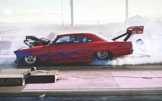 drag, racing, chevrolet, car, race, дым, muscle, назад,