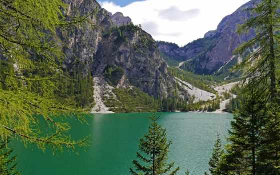 озеро, braies, изображение