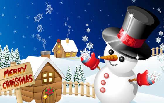 снеговик, красивый, winter