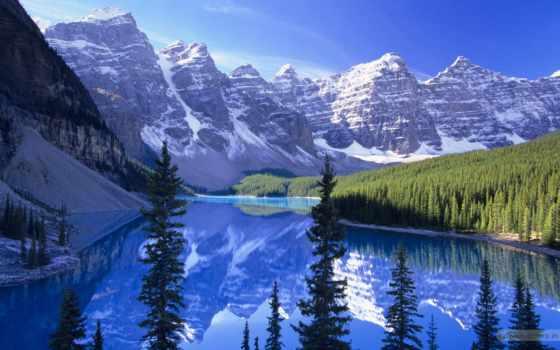 озеро, канада, moraine, горы, морейн, banff,