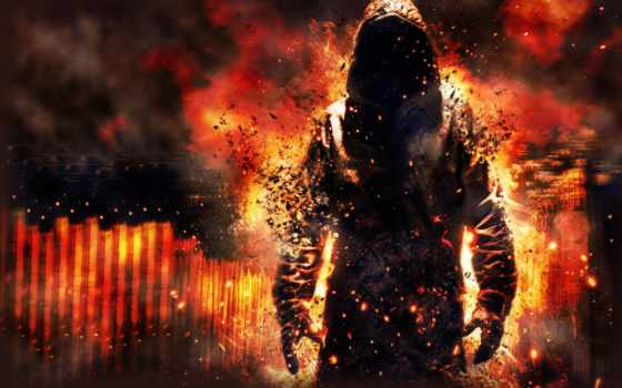 демон, ghost, пламя, балахон, огонь, дракон, дым, капюшон, существо, крылья, уничтожение,