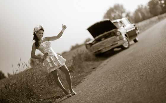 ретро, авто, дорога, devushki, машина, девушка, обстановка, стиль, доступ,