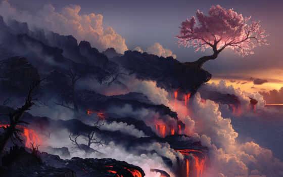 fantasy, планшетный, topographie, fantasie, русалка, лава, лес, прохождение, blossoms,