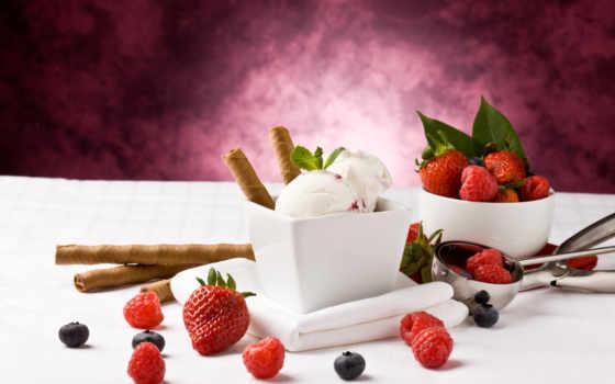 мороженое, малина, ягоды, клубника, десерт, красивые, черника, everything, rub, широкоформатные,