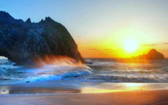 природа, красивые, пляж, море, природы, небо, закат, пейзажи -, качества, скалы, высокого,