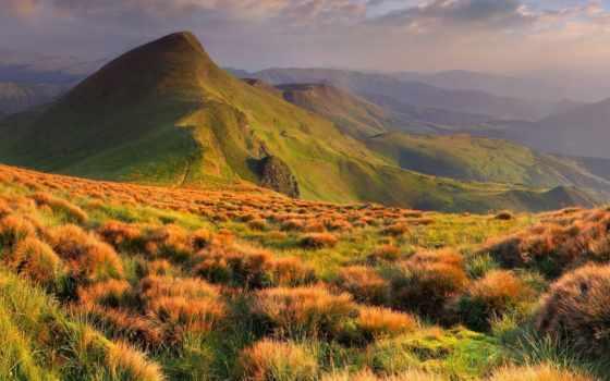 горы, пейзажи -, mountains, года, landscapes, природа, трава, красочные, небо, холмы,