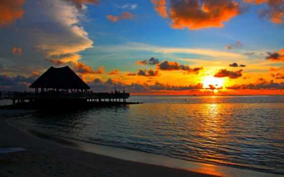 закат, бор, красивый, пляж, море, summer, мальдив, different, tropic