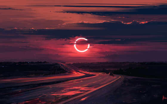 eclipse, арта, drawing, art, aenamus, landscape, солнечный, red, закат
