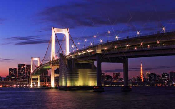 tokyo, japan, огни, здания, город, capital, мост, ночь, освещение, мосты, фонари, мегаполис, синее, небо, hintergrundbilder, залив, дома,