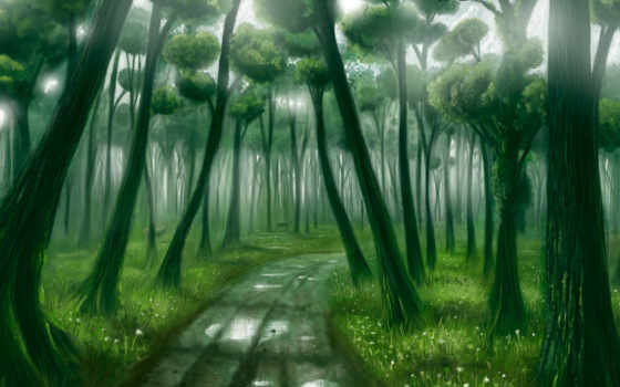 лес, фэнтези, деревья
