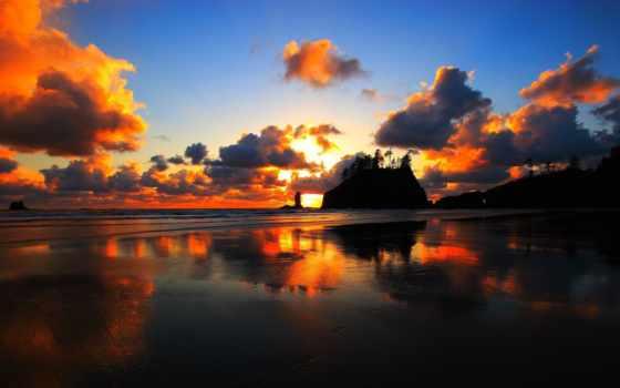 закат, washington, пляж