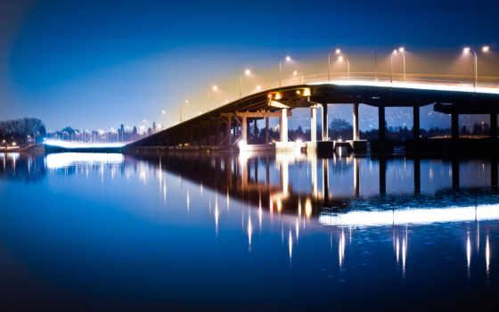 мост, ночь, фонари Фон № 125597 разрешение 2880x1800