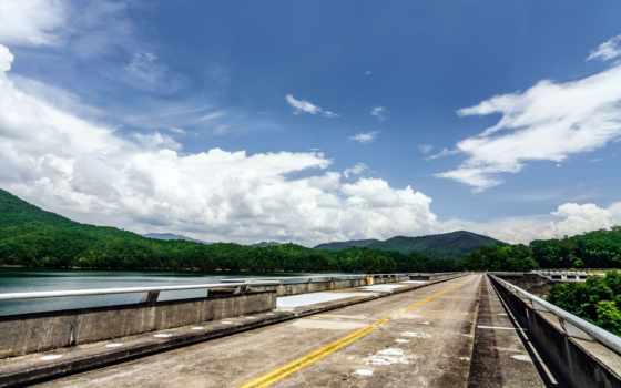 дорога, небо, облако, сша, дерево, dam, лес, гора,
