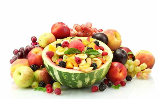 фрукты, ягоды, персики, малина, сливы, арбуз, яблоки, бананы,