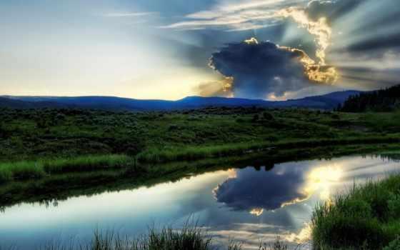 непогода, природа, красивые, небо, landscape, загрузил, пейзажи -, water, озеро, зелёный, красивая,