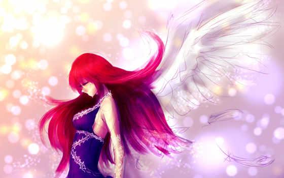 anime, волосами, красными, ztc中天, mein, красные, angel, волосы, крылья, profile,