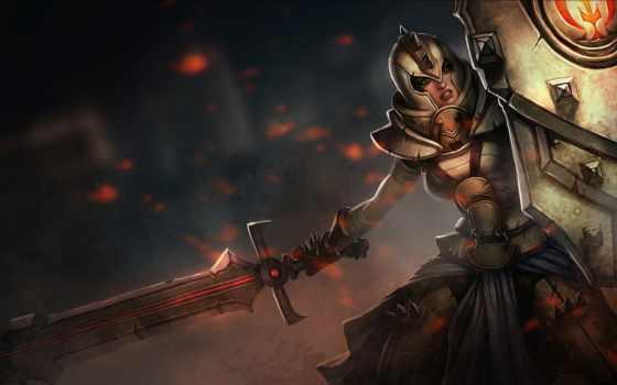 девушка, воин, art, щит, меч, league, legends, leona,
