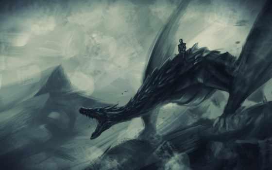 game, thrones, дракон