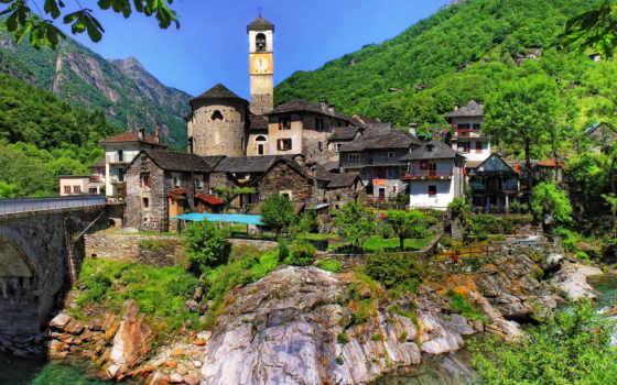 верзаска, река, горы, swiss, города, ticino, туры, европе, trees, швейцарии, lavertezzo,