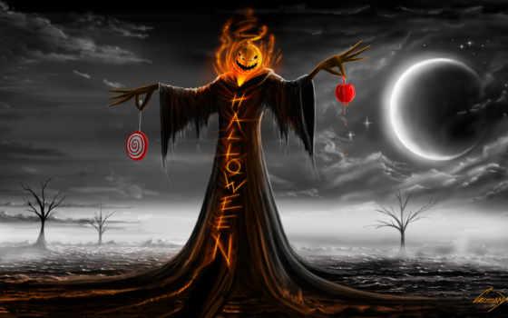 halloween, тыква, луна, праздник, ночь, надпись,