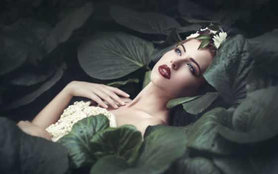 девушка, лежит, листьях, листва, руки,