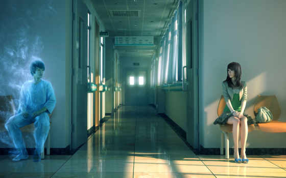 ghost, девушка, art, парень, hospital, дух, anime, yonglin, yao, стулья, сидя,