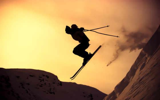 лыжи, спорт, склон, экстрим, горы, зима, парень, солнце, лучи, закат, горные, картинка, души, skiing, полет, снег, silhouette, лыжник, rapidshare, ultimate, hay,