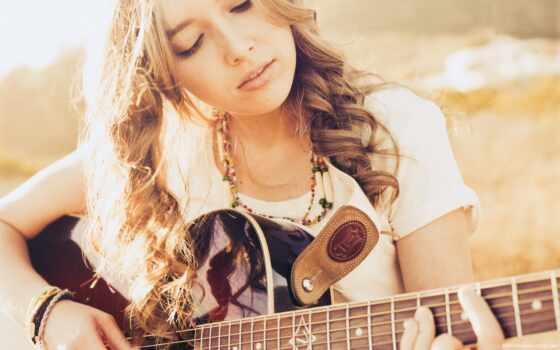 гитара, девушка, музыка Фон № 62152 разрешение 1920x1200