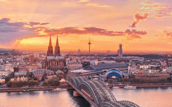 германия, город, красивые, река, cologne, небо, города, мост, закат,