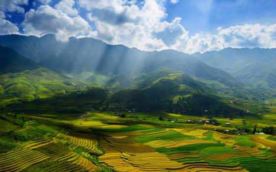 лучи, поля, kartinka, pole, вьетнам, oblaka, солнце, небо, priroda, svet, солнечные,