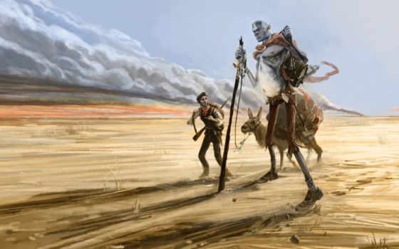 fantasy, картинка, кочевник, пустыня, гигант, illustration, long, прогулка, art,