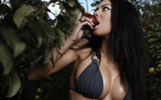девушка, яблоком, devushki, красивая, you, many,