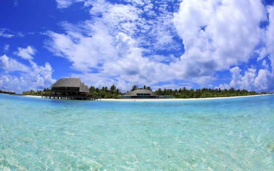 maldives, комодо, корабли, небо, android, бунгалы, gdefon, landscape, главная,