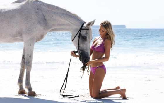 лошади, лошадь, девушка, devushki, море, zhivotnye, пляж, горизонт, песок, blonde, белая,