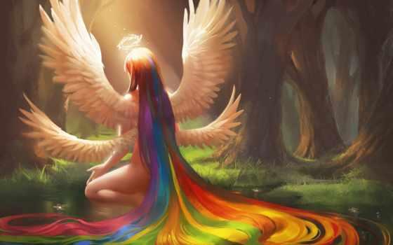 радуга, ангел, девушка, арт, волосы, крылья, нимб,