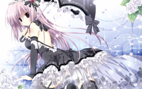 anime, korie, riko, hair, dress, girl, purple, thighhighs, black, konachan, lolita, umbrella, absurdres, sweety, version, flower, larger,