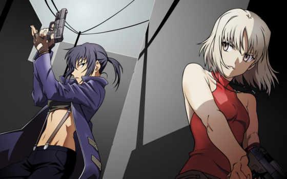 anime, пистолет, взгляд