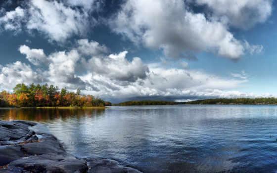 осень, небо, trees