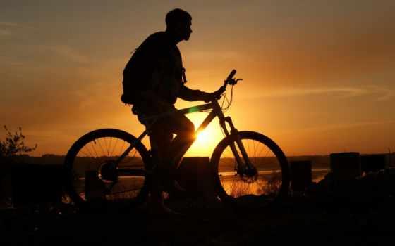 bike, закат, парень, небо, велосипеде,