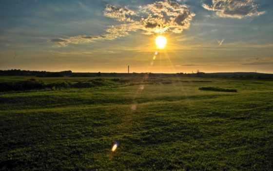 поле, landscape, sun, закат, природы, небо, broadband, мар, всех, есть,