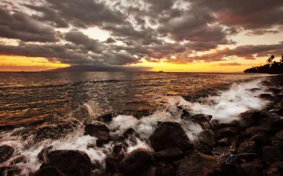 море, закат, небо, тучи, камни, природа, найти, закаты, рассветы, surf,