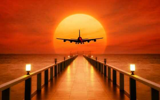 plane, закат, sun, море, takeoff, weed, причал