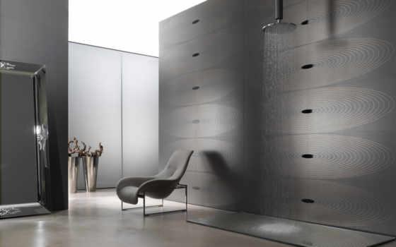 интерьер, зеркало, кресло, душ, модерн, плитка, женщина,