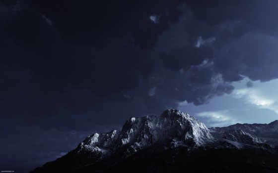 небо, гора, тучи