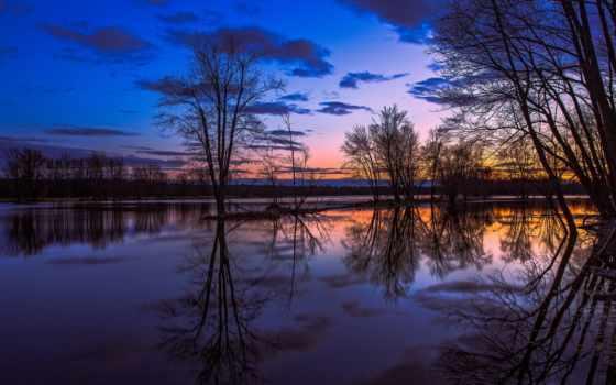 онтарио, озеро, канадский, отражение, trees, закат, вечер, небо, оранжевый, пейзажи -, oblaka,