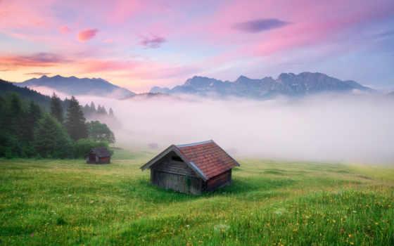 alpen, hintergrundbild, wiese, himmel, gras, sonnenuntergang, nebel, desktop, full, herunterladen,