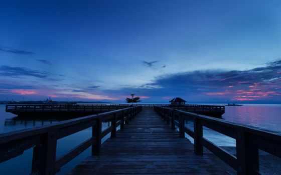 берег, море, вечер, закат, pier, остров, мост, wooden, philippines, небо, oblaka,