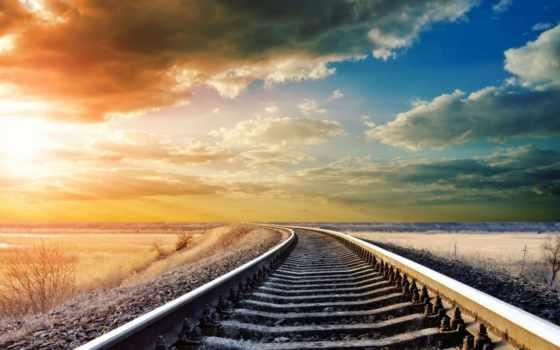 железнодорожные, пути, car, группа, рельсы, поезд,