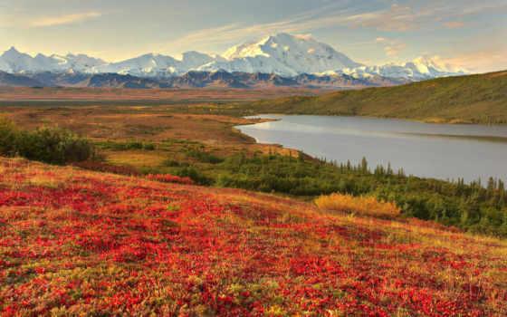горы, река, пейзажи -, reki, landscape, лес, природа, гор, осень, winter, трава,