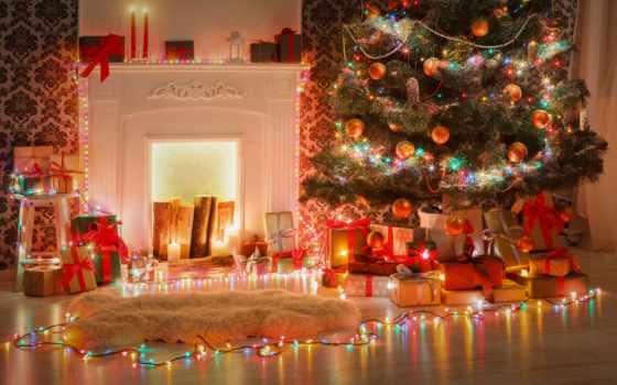 garland, коллекция, рождественский, елка, design, украшенный, палуба, новый год, красивый